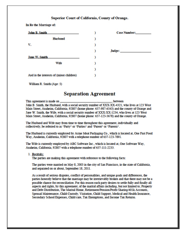Example Separation Agreement  Example Of Divorce Papers