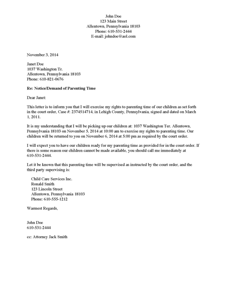 demand letter for child accessvisitation