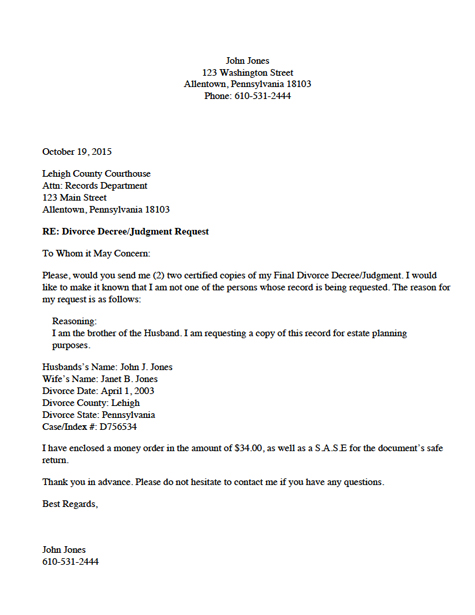 Divorce Source  Divorce Record Request Letter