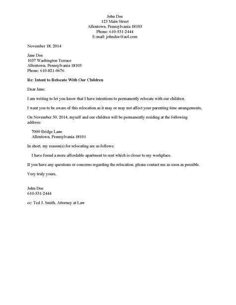 Letter to Non-Custodial Parent of Intent to Relocate With Child(ren)