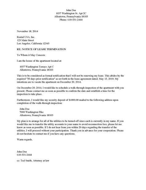 Notice of Lease Termination - Apartment