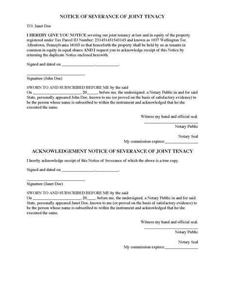 Notice of Severance of Joint Tenancy